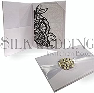 Luxurious Hand Crafted Silk Invitation Folio with Clustered Pearl Detail