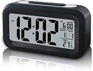 GLOUE Battery Operated Cordless Digital Alarm Clock, Smart Sensor Night Light, Date, Snooze, Temperature, 12/24Hr switchable, Simple Operation, for Kids/Heavy Sleepers/Bedroom/Travel (Black)