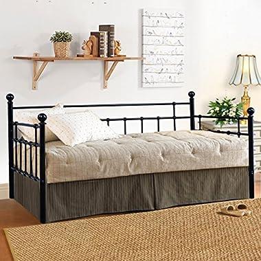 Metal Daybed Frame Twin Steel Slats Platform Base Box Spring Replacement Children Bed Sofa for Living Room Guest Room Black