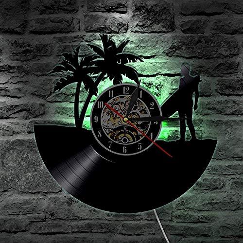 ZZLLL Reloj de Pared con Disco de Vinilo de Surf de Verano, diseño Moderno, Deportes al Aire Libre, decoración del hogar, Reloj de Pared de Windsurf para Regalo de Amante del Surf