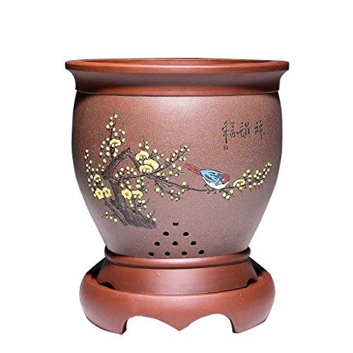 Pot de fleurs BOBE Shop Style Chinois en Céramique avec Plateau Salon Rond Violet Sable Orchidée Grand Pot De Plante avec Trou 25 * 25 * 30 CM (Couleur : #2)