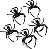 Boao 120 Pieces Spider Rings Plastic Cupcake Topper Halloween Party Favors (Black)