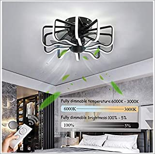 LED Ventilador De Techo Con Luz Regulable Ventilador De Techo Con Luz Y Mando Velocidad Del Viento Ajustablesilencioso Ventilador De Techo Infantil Decoración Habitación 240W,58cm(black)