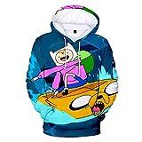 MUDIYOU Adventure Time Sudadera con Capucha Estampada en 3D Cuello Redondo Camisa Deportiva de Manga Larga para Hombres y Mujeres Regalos Casuales de Dibujos Animados -XL