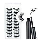 10 Pairs False Eyelashes Kit With Eyeliner False Eyelashes Kit 5D False Eyelashes with Glue Eyeliner