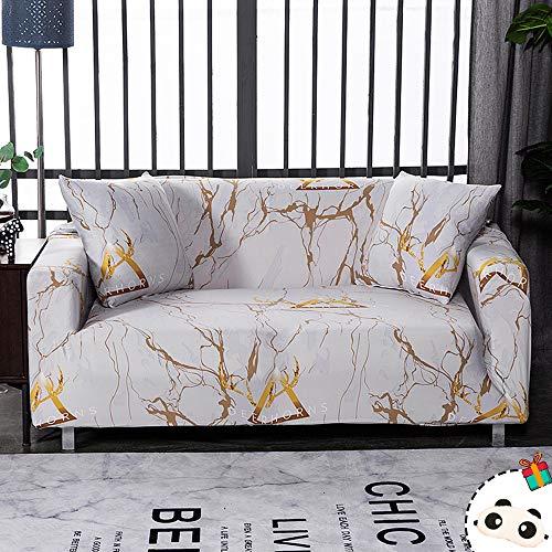 Enhome Funda para Sofá Elástica de 1 2 3 4 Plazas, Universal Cubierta Cubre de Sofá Fundas Antideslizante Extensible Fabric Protector para Muebles y Mascotas (Blanco Mármol,2 Plazas)