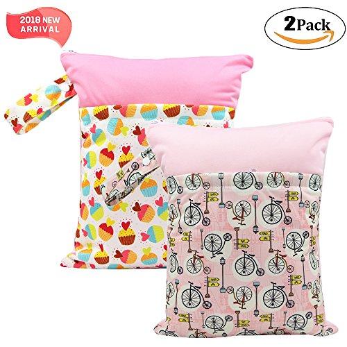 '2 Pack Baby humide et chiffon sec Sacs à langer étanche réutilisable avec deux poches à fermeture éclair, 11,8 \