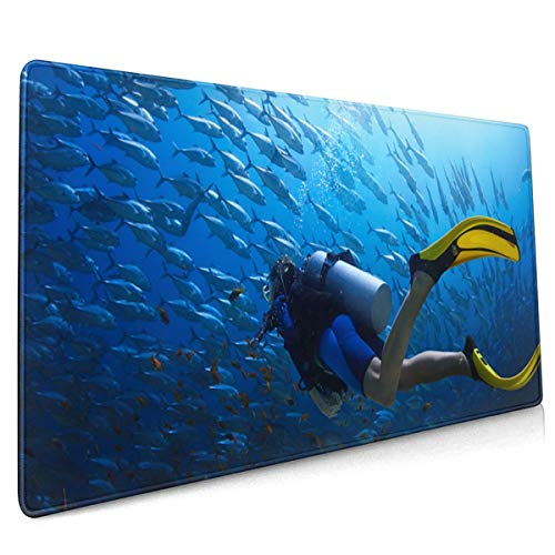 Extend Moursepad Diving Scuba Ocean Coral Fish 40 X 90 CM Mousepad with Non-Slip Rubber Base, Soft Computer Keyboard Mice Mat