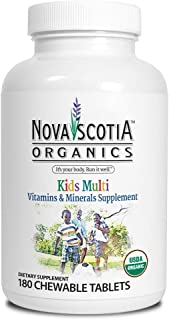 Nova Scotia Organics Kid's Multivitamins & Minerals (180 Chewable Tablets) Organic, Vegan and Plant-Based