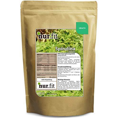 Nurafit Spirulina-Tabletten, ca. 1000 Kapseln, Vegan Superfood Algen Presslinge, Nahrungsergänzungsmittel mit B-Vitaminen I 250g / 0.25kg