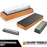Sharp Pebble Complete Sharpening Stone Set- Dual Grit Whetstone 1000/6000 - Bamboo Leather Strop -...