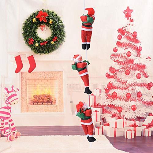 RecoverLOVE Kletterweihnachtsmann Dekoration Spielzeug | 60cm Hängende Weihnachtsmann Seil Dekorationen Klettern für Weihnachtsbaum oder Kamin | Kletterseil Weihnachtsmann
