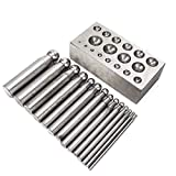 Jewellry Pits Dapping Tools Set, Metal Jewellry Making DIY Kit para Dapping Doming Punch Processing Manufacturing Crafting(14 Piezas)