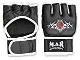 M.A.R International Ltd Genuine Leather Open Palm MMA Ultimate Fighting Gloves Muay Thai Grapple & Strike Gloves Gym Fitness Supplies Sparring Gear Black Small Black/White