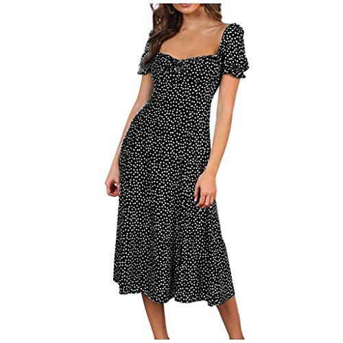 Kleid für Frauen Lässiger Sommer, Mode Damen Chiffon Blumendruck Kurzarmkleid Sommer Sommerkleid
