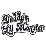 Daddy's Lil Monster Motif Iron On Embroidered Applique Patch