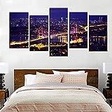 SJVR Carteles de Lienzo de 5 Piezas, Hermoso Panorama estético del Puente del Bósforo, Estambul, Turquía, Vista Nocturna, Paisaje, Imagen Sin Marco
