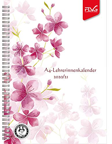 A4 Lehrerinnenkalender FLVG Verlag 2020/2021 Lehrer Kalender A4 Blume rot