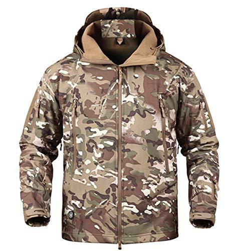 XPF Hommes Militaire Tactique Softshell Vestes en Plein Air Étanche Sport Camouflage Chasse Camping Randonnée Veste Coupe-Vent,G-S