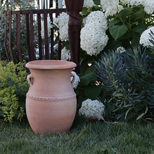 Kreta-Keramik | handgefertigte frostfeste Terracotta Pflanzamphore mit Henkeln | 40 cm | dekoratives Pflanzgefäß zum bepflanzen,Cistus