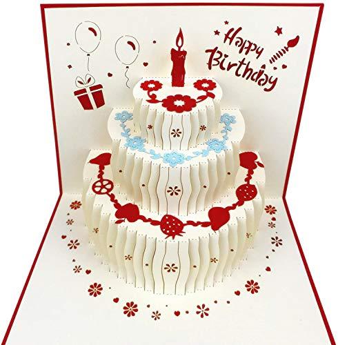Biglietto Di Auguri 3D Pop-Up Per Compleanno, Biglietti Di Auguri Di Compleanno, Biglietti Pop-Up Con Taglio Laser, Buste Incluse (Bianco)