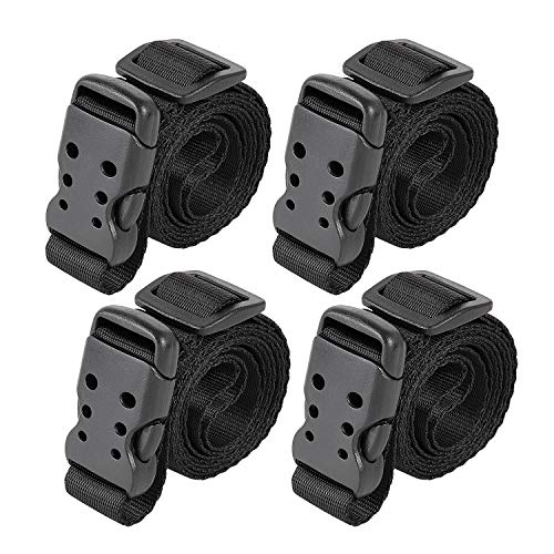Great Deal! Utility Straps with Buckle Quick-Release 40 Adjustable Nylon Straps Black, 4 Pack (40L...