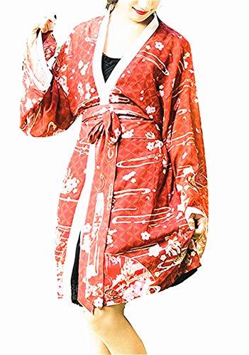 Double Villages Japonés Estilo Kimono Bata de Baño Kimono Dormido Túnica Cosplay Disfraz Túnica (Blanco, S)