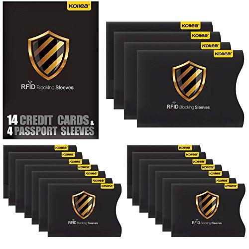 Kollea, custodie protettive per carte con dati RFID, set da 18pezzi, 14 custodie per carta di credito e 4per passaporto. Questa protezione dal furto di dati personali, in confezione da viaggio, ha la misura adatta per stare nelle tasche del portafogli o della borsa