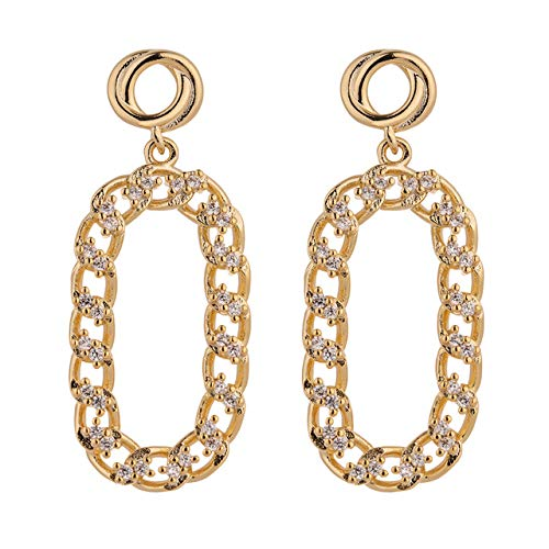 Trendy Round Hollow Dangle Earrings High Quality Cubic Zirconia Copper Earrings Jewelry
