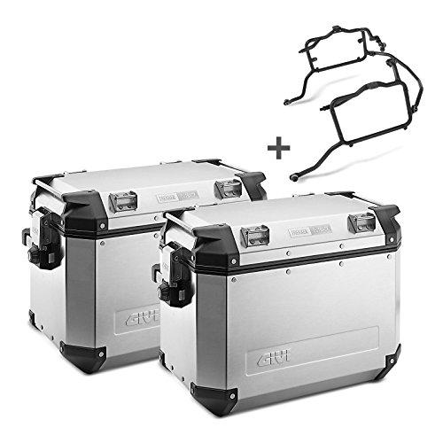 Juego de maletas laterales Suzuki V-Strom 650 11-16 Givi Monokey Trekker Outback OBK48A en aluminio plata