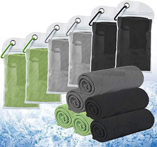 6 toallas de refrigeración refrescante efecto (100 x 30 cm) Deportes Cool Toalla de microfibra de hielo, suave y transpirable para yoga, gimnasio, camping, fitness, fútbol