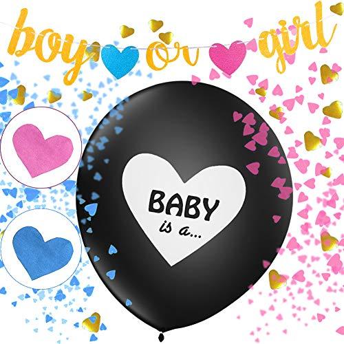2 Stücke Boy Or Girl Ballon mit Banner,Geschlecht Offenbaren Ballon,Luftballons Mädchen Oder Jungen,Geschlecht Offenbaren Party,Baby Shower Party Dekorationen