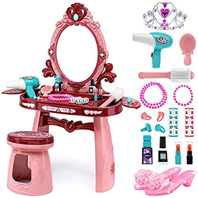 Yunaking Kids Vanity Toys for 2 3 4 5 Year Old Girls, Toddler Vanity Set with High Heels and Princess Crown, Play Makeup Toy Set with Fashion & Makeup Accessories for Little Girls