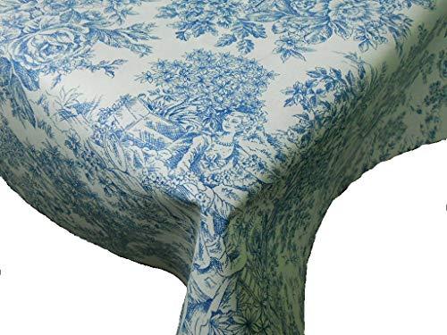 Confección Saymi Mantel Antimanchas Ref. Toile de Jouy, Romántica Azul Tejido Acabado en Teflon®, Medida 138x250