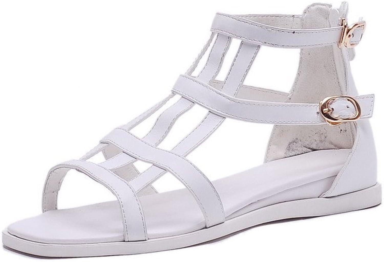 AmoonyFashion Women's Open Toe Zipper Cow Leather Solid Low Heels Sandals