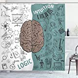 Ambesonne Modern Shower Curtain, Brain Image with Left and Right Side Music Logic Artwork Side Science Print, Cloth Fabric Bathroom Decor Set with Hooks, 75' Long, White Teal