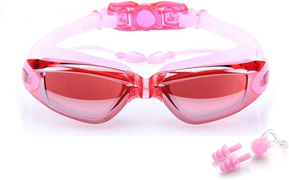 BEEWAY Gafas de natación, Premium cómodo Gafas de natación Tapones para los oídos adjunta, Anti Niebla Protección UV Lentes Totalmente Ajustable para Adulto Hombres Mujeres y niños 8+