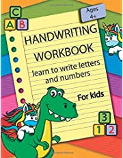 Handwriting workbook | learn to write letters and numbers: letters and numbers Handwriting Workbook for kids | Preschool writing Workbook | learn to ... letters and numbers | for kids ages 4+
