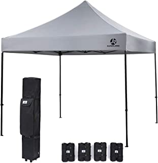 SUPERJARE Pop-up Canopy, 4 Weight Bags and a Wheeled Carry Bag, 10 Ft x 10 Ft Commercial Shelter, Outdoor Instant Folding Tent, Heavy Duty - Gray