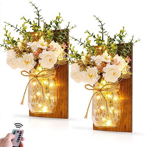 MMTX 2 Stück Mason Jar Licht, Weihnachtsdeko Geburtstagsgeschenk Holz-Dekoration mit Künstliche Blumen, LED Lichterkette String Licht für Halloween, Hochzeits Schlafzimmer Wand Dekoration