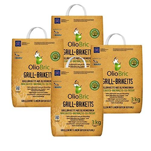 OlioBric Grillbriketts aus Olivenkernen, 12kg Ohne Rauch Kein Holz Keine Funken Lange Brenndauer 100% Recycelte Grillkohle-Briketts für jeden Grill | Umweltfreundliche & rauchfreie Kohle zum Grillen