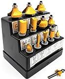 KHCRAFT Router Bit Set 1/4-Inch Shank Tungsten Carbide Bits 12-Piece in Display Case for Woodworking