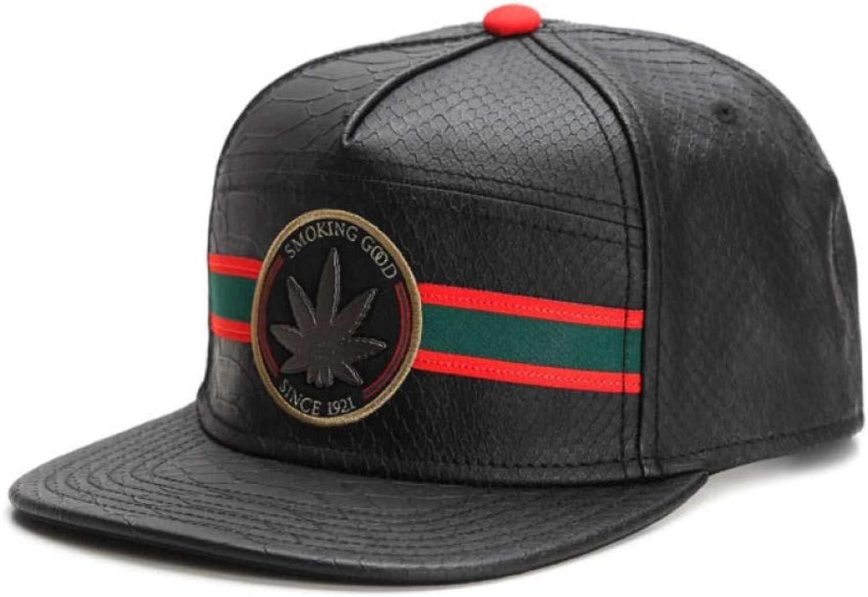 WYKDA Brand Good Cap Black Leather HipHop Snapback hat for Men Women Adult Outdoor Casual Adjustable Sun Baseball Cap