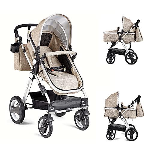 HONEY JOY Baby Stroller for Newborn, 2 in 1 High Landscape Infant Stroller & Convertible Bassinet Pram, Adjustable Backrest & Canopy, Cup Holder, Storage Basket, Foldable Pushchair w/Foot Cover(Khaki)