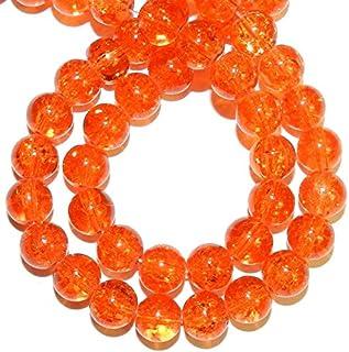 Zoya Gems & Jewellery Orange 10mm Round Crackle Crystal Beads 20-inch Strand Necklace