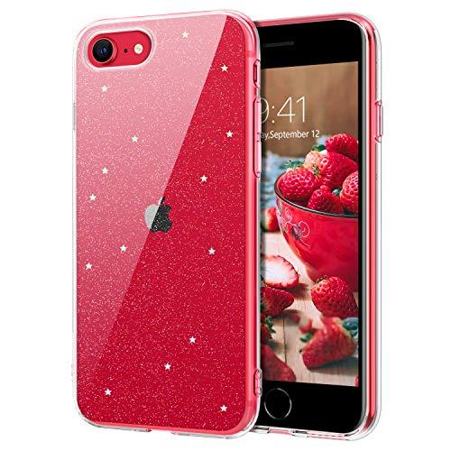 DOMAVER iPhone SE 2020, custodia protettiva per iPhone 7/8, antigiallo, antiurto, trasparente per iPhone 7/8/SE 2020, cover in silicone TPU con glitter e stelle