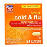 Rite Aid Severe Flu and Cold Relief Caplets - 24 Count | Pain Relief | Congestion Relief | Fever Reducer | Sinus Medicine for Adults | Decongestants for Adults | Cold and Flu Medicine for Adults