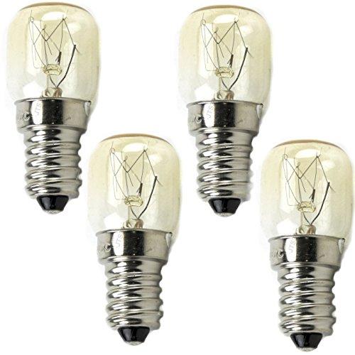 DeClean 4 Stück Herd Backofen Lampe Birne E 14 bis 300° Grad C 15 Watt 25mm Durchmesser