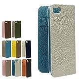 iPhoneSE(第2世代)/8/7 アイボリー×ブルー バイカラー本革シュリンクレザーケース iphone12 mini iphonese iphone11 iphone8 iphone12pro 手帳型 iphone12