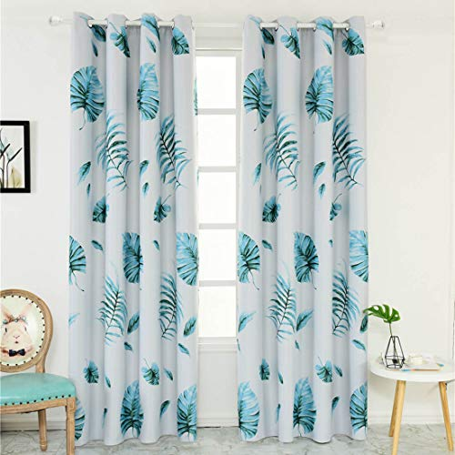 Tropical Banana Leaf Blackout Curtains 1 Panel Room Darkening Thermal Insulated Grommet Drapes Leaves Window Treatments Curtains for Bedroom Kids Nursery Living Room Sliding Glass Door, 39 x 78 inch